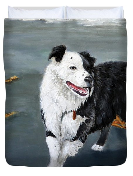 Australian Shepard Border Collie Duvet Cover by Enzie Shahmiri