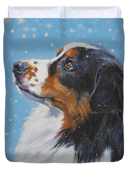 Australian Shepherd In Snow Duvet Cover by L A Shepard