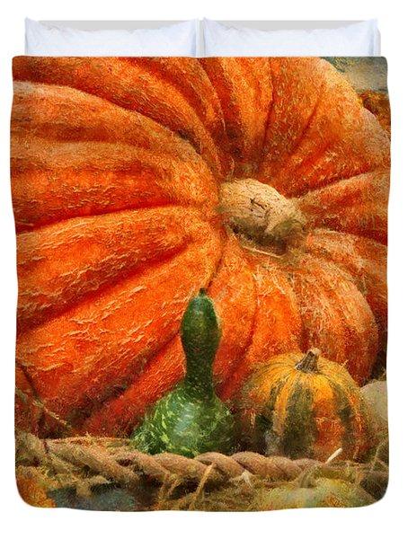 Autumn - Pumpkin - Great Gourds Duvet Cover by Mike Savad