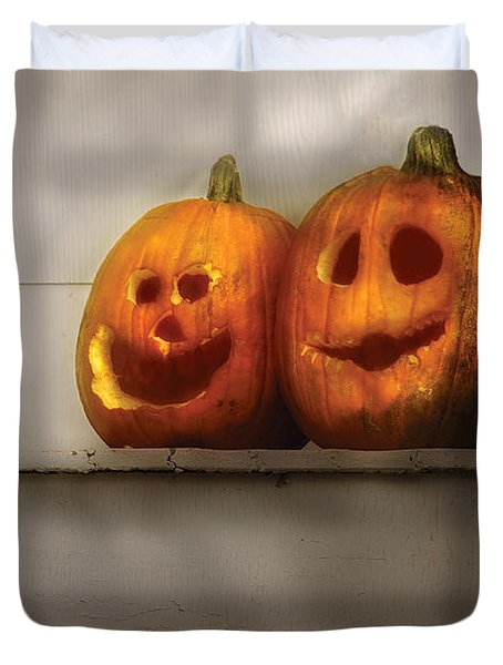 Autumn - Pumpkins - Two Goofy Pumpkins Duvet Cover by Mike Savad