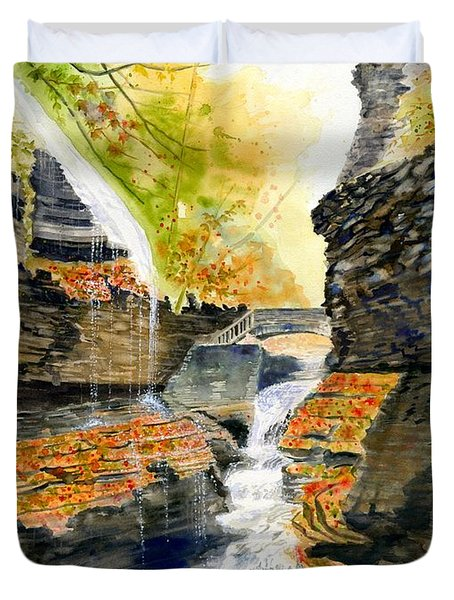 Autumn At Rainbow Falls  Duvet Cover by Melly Terpening