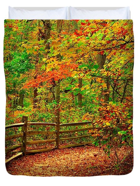 Autumn Bend - Allaire State Park Duvet Cover by Angie Tirado