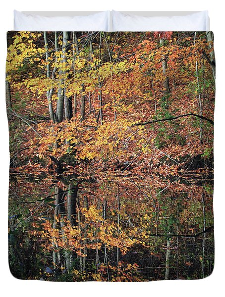 Autumn Colors Reflect Duvet Cover by Karol Livote