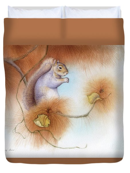 Autumn Come Softly Squirrel Duvet Cover by Tracy Herrmann