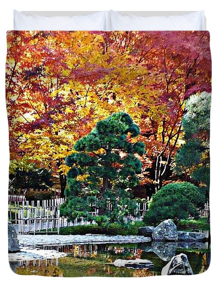 Autumn Glow In Manito Park Duvet Cover by Carol Groenen