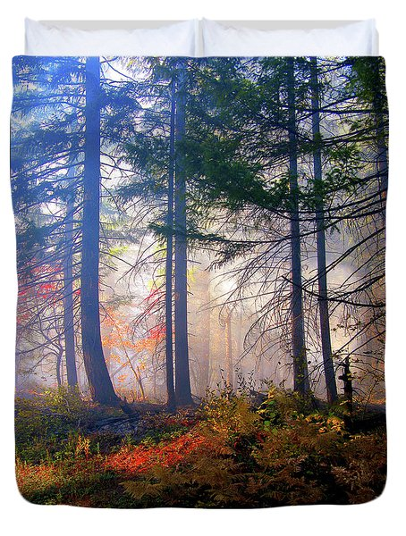 Autumn Morning Fire And Mist Duvet Cover by Diane Schuster
