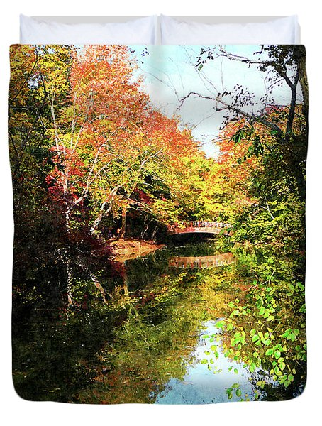 Autumn Park With Bridge Duvet Cover by Susan Savad