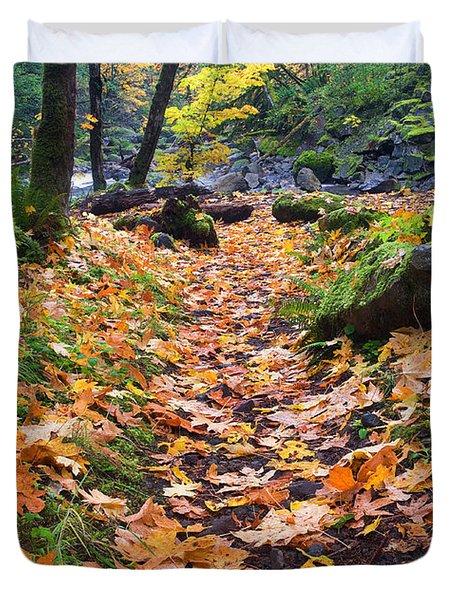 Autumn Path Duvet Cover by Mike  Dawson