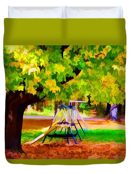 Autumn Playground 1 Duvet Cover by Lanjee Chee