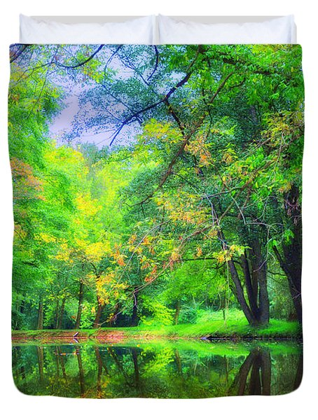 Autumn Pond in Gladwyne Duvet Cover by Bill Cannon