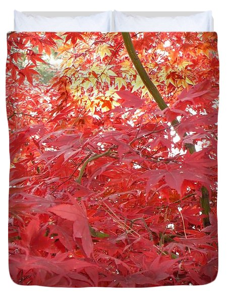 Autumn Red Poster Duvet Cover by Carol Groenen