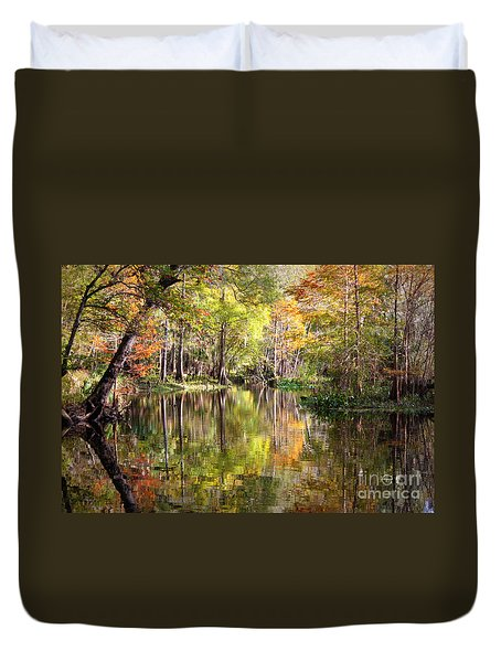 Autumn Reflection On Florida River Duvet Cover by Carol Groenen