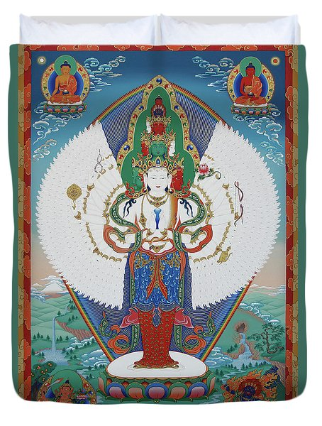 Avalokiteshvara Lord Of Compassion Duvet Cover by Sergey Noskov