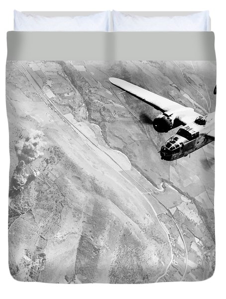 B-25 Bomber Over Germany Duvet Cover by War Is Hell Store