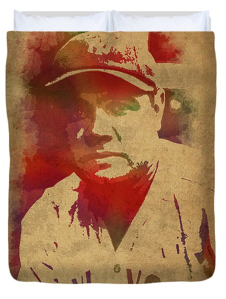 Babe Ruth Baseball Player New York Yankees Vintage Watercolor Portrait On Worn Canvas Duvet Cover by Design Turnpike