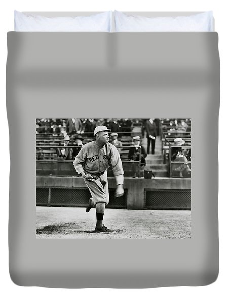 Babe Ruth - Pitcher Boston Red Sox  1915 Duvet Cover by Daniel Hagerman