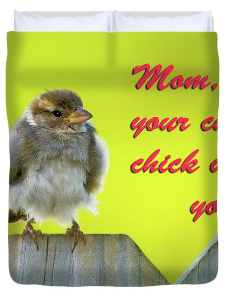 Baby bird Duvet Cover by Betty LaRue
