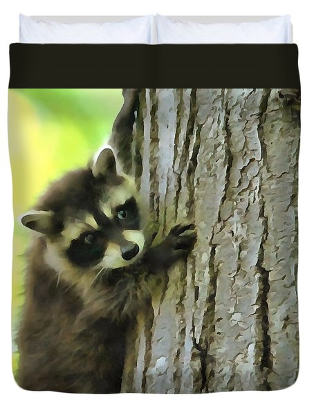 Baby Raccoon In A Tree Duvet Cover by Dan Sproul