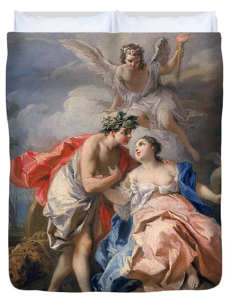 Bacchus And Ariadne Duvet Cover by Jacopo Amigoni