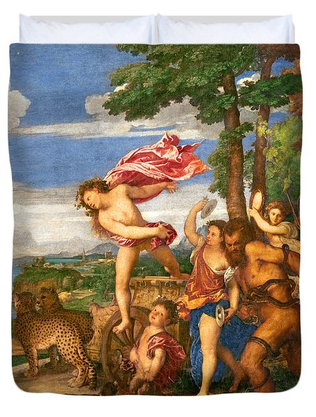 Bacchus And Ariadne Duvet Cover by Titian