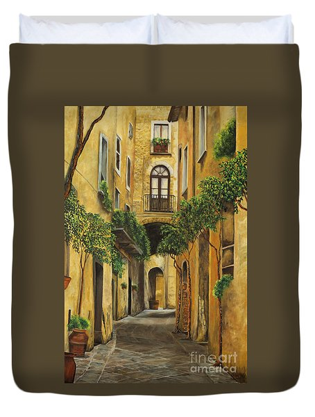 Back Street in Italy Duvet Cover by Charlotte Blanchard