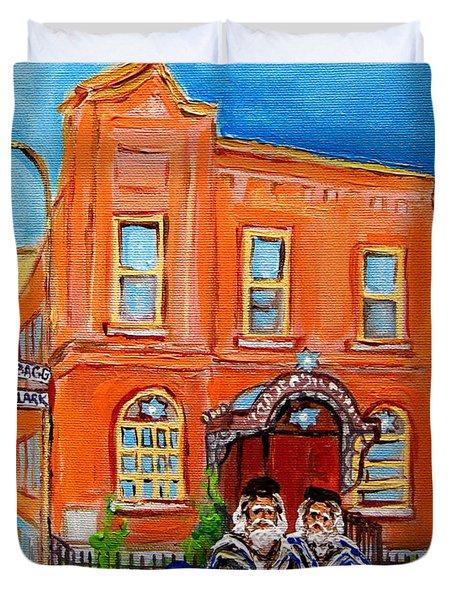 Bagg Street Synagogue Sabbath Duvet Cover by Carole Spandau