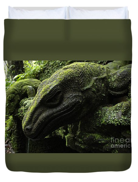 Bali Indonesia Lizard Sculpture Duvet Cover by Bob Christopher
