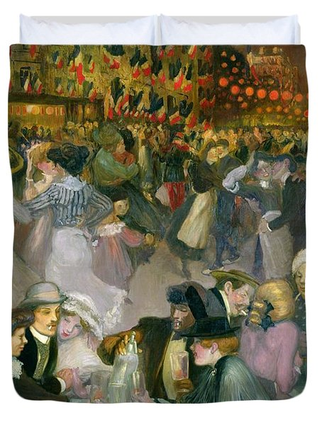 Ball On The 14th July Duvet Cover by Theophile Alexandre Steinlen