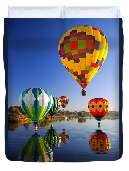 Balloon Reflections Duvet Cover by Mike  Dawson