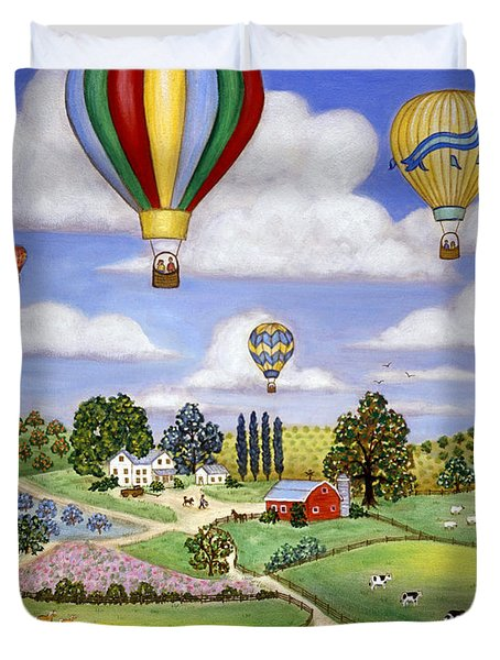 Ballooning in the Country One Duvet Cover by Linda Mears