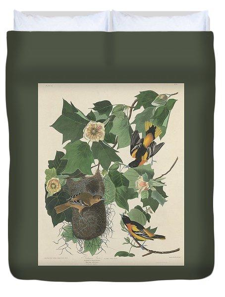 Baltimore Oriole Duvet Cover by John James Audubon