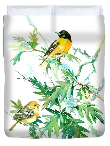 Baltimore Orioles And Oak Tree Duvet Cover by Suren Nersisyan