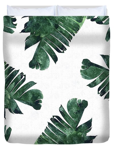 Banan Leaf Watercolor Duvet Cover by Uma Gokhale
