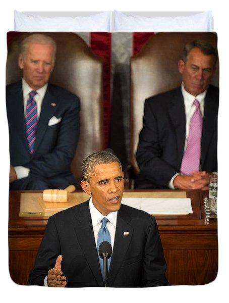 Barack Obama 2015 Sotu Address Duvet Cover by Science Source