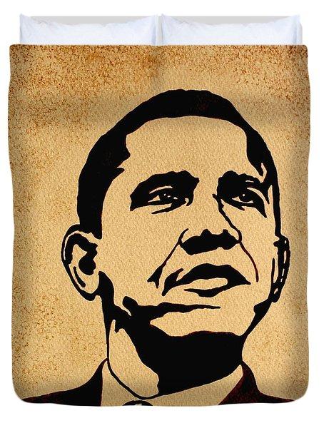 Barack Obama Original Coffee Painting Duvet Cover by Georgeta  Blanaru