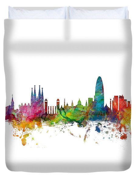 Barcelona Spain Skyline Panoramic Duvet Cover by Michael Tompsett