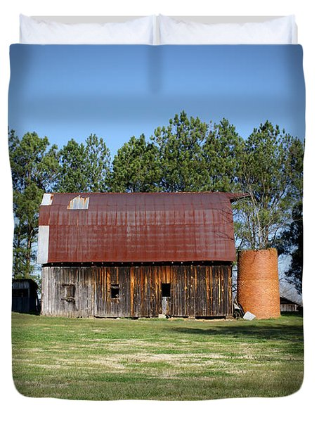 Barn with Tree in Silo Duvet Cover by Douglas Barnett