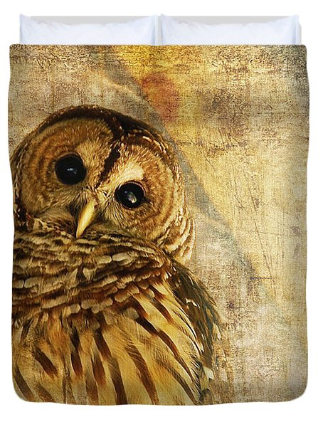 Barred Owl Duvet Cover by Lois Bryan