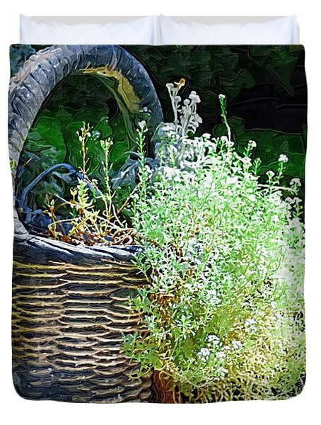 Basket Full Of Flowers Duvet Cover by Donna Bentley