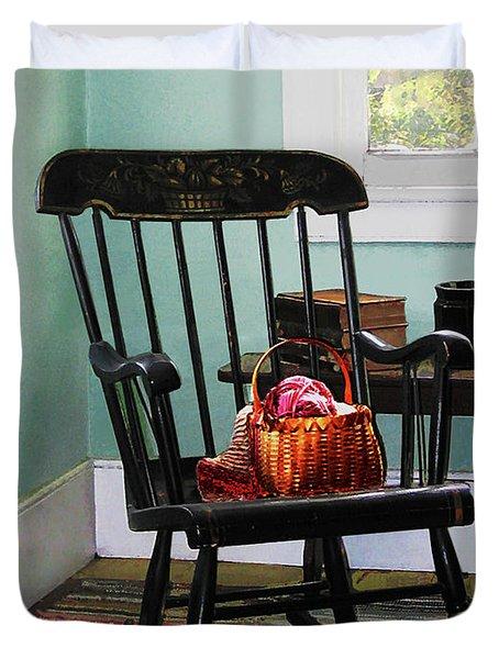 Basket Of Yarn On Rocking Chair Duvet Cover by Susan Savad
