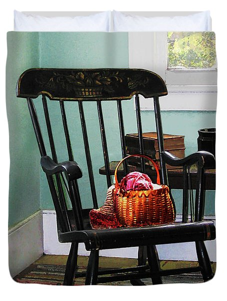 Basket of Yarn on Rocking Chair Duvet Cover by Susan Savad