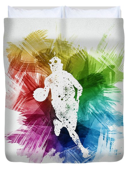 Basketball Player Art 02 Duvet Cover by Aged Pixel