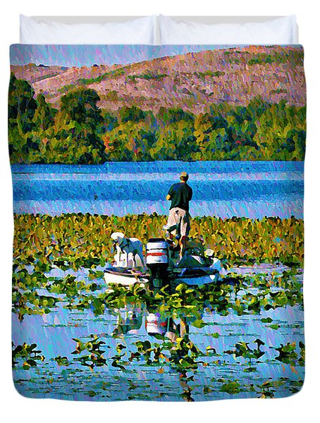 Bass Fishing Duvet Cover by Bill Cannon
