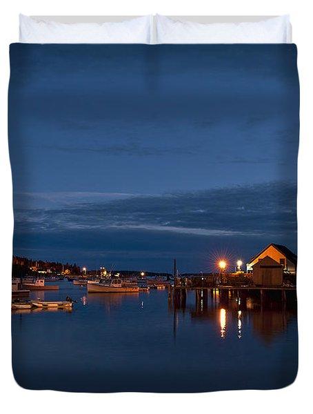 Bass Harbor at night Duvet Cover by John Greim
