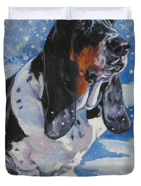 basset Hound in snow Duvet Cover by L A Shepard