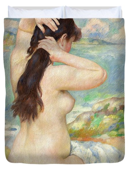 Bather Arranging Her Hair Duvet Cover by Pierre Auguste Renoir
