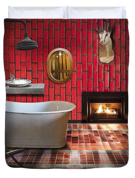 Bathroom Retro Style Duvet Cover by Setsiri Silapasuwanchai