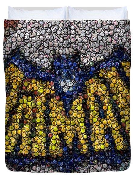 Batman Bottle Cap Mosaic Duvet Cover by Paul Van Scott