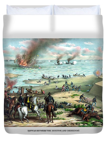 Battle Between The Monitor And Merrimac Duvet Cover by War Is Hell Store