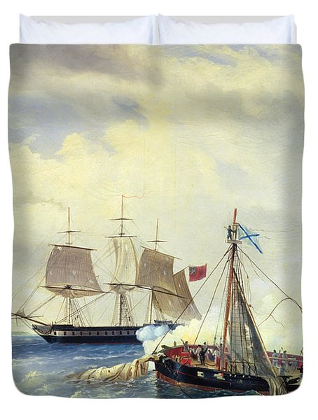 Battle Between The Russian Ship Opyt And A British Frigate Off The Coast Of Nargen Island  Duvet Cover by Leonid Demyanovich Blinov